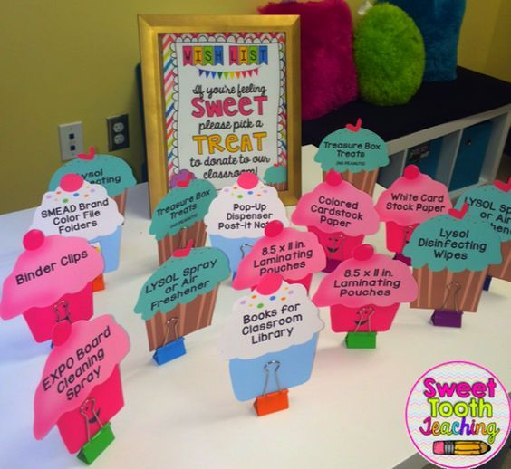Create a Cupcake Wish List for Open House/ Meet the Teacher Night to encourage classroom donations