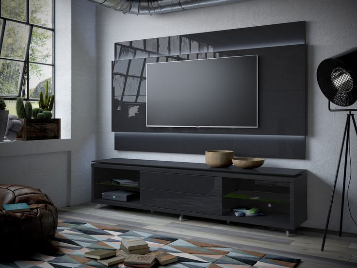 Lincoln Floating Wall TV Panel 2.2 with LED Lights in Black Gloss and Black