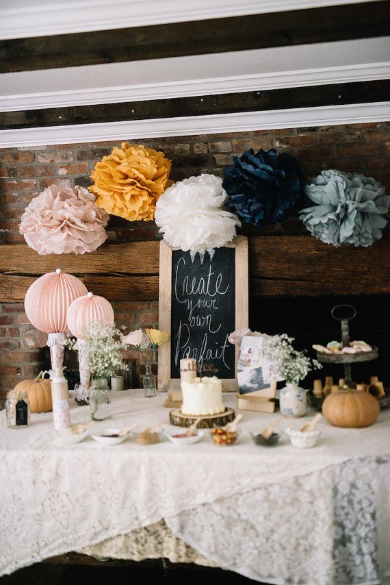 Would be so gorgeous for a fall bridal shower - beautiful colors! Tissue paper pom poms // girl birthday party decorations //