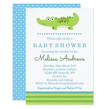 Green and Blue Alligator Baby Shower Invitation - baby gifts child new born gift idea diy cyo special unique design