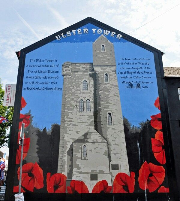 16 best ulster tower images on pinterest towers somme for Mural in belfast