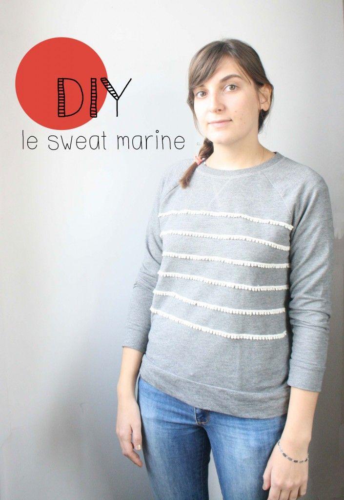 DIY un pull marine à dentelle