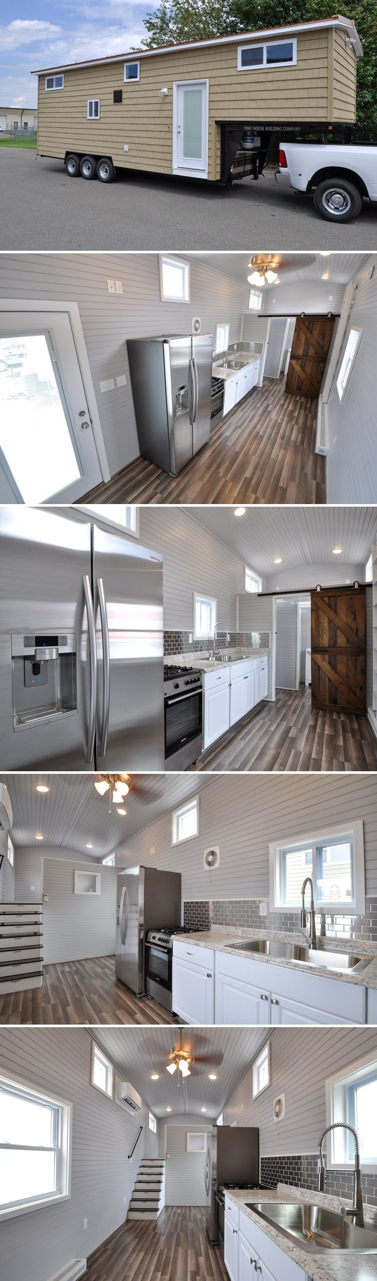 The 340-square-foot Brooke has a full glass entry door with built-in blinds, full size appliances, and a king size master bedroom above the gooseneck.