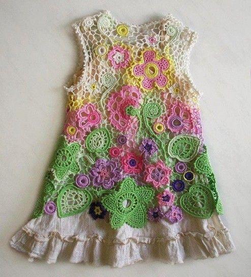 Multicolor vestido de crochet para niñas