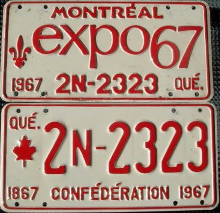 Montreal Expo 67 License Plate