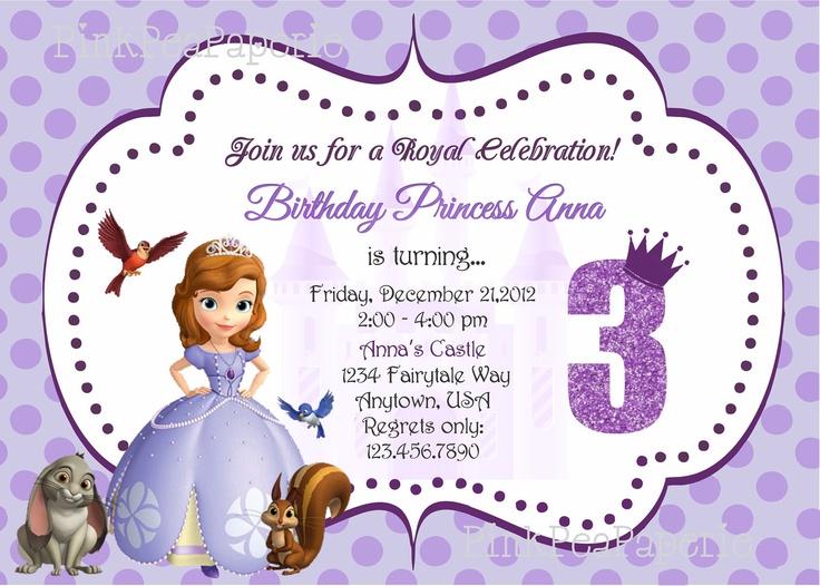 Custom Printable SOFIA THE  FIRST Birthday Invitation. $8.00, via Etsy.