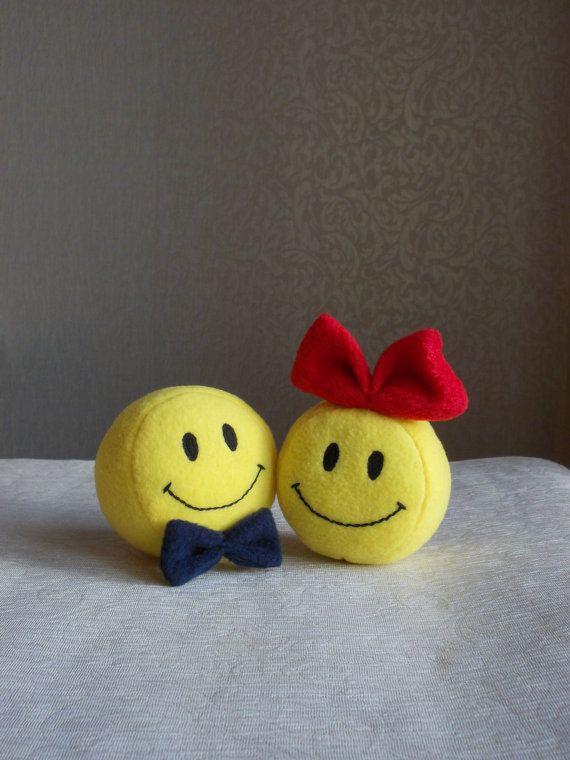 Small toy Smiley Smiley face round yellow smile by PillowsRollanda, $20.00