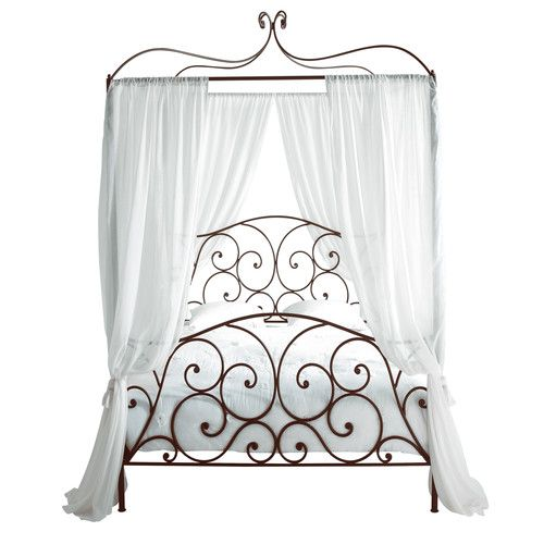 Sheherazad - Four-Poster Metal Double Bed in Brown