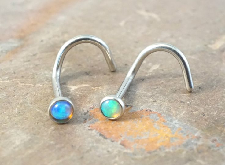 Blue opal and green fire opal nose corkscrew piercing nose stud. You will receive BOTH the green and blue opal nose studs in the first photo. 20 gauge sterling silver wire with tiny 2mm 100% genuine o