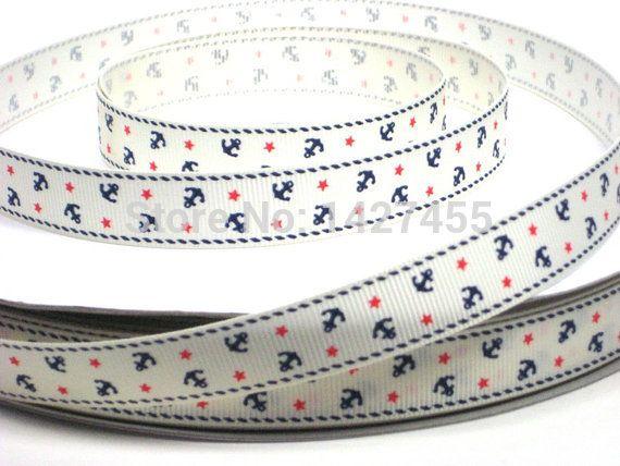 "100 yards/lot 3/8"" 9-10mm Nautical ivory Anchor print grosgrain ribbon"