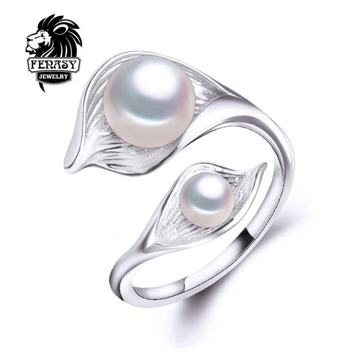 FENASY bohemia 2016 Nuevo Doble Anillo de la Perla encantos Ajustables Anillos para las mujeres Joyería de perlas de Perlas de agua dulce de moda aliexpress