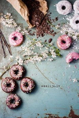 Pink tones. Food styling. Donuts