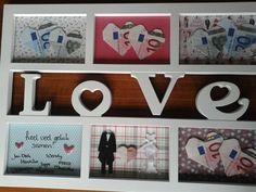 Leuk cadeau voor een bruiloft. Fotolijstje, vullen met geld-hartjes, vrolijk…