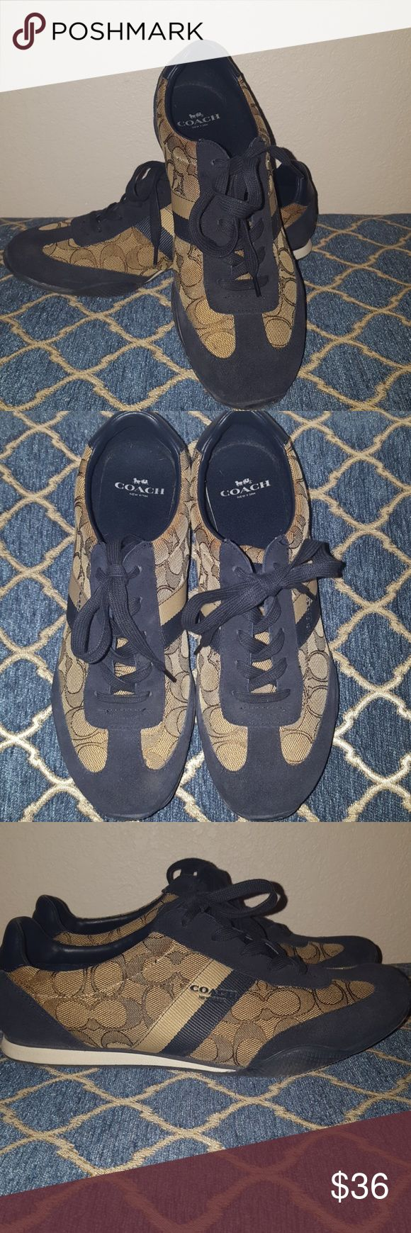 Coach Tennis Shoes Coach Tennis shoes in excellent condition! Navy blue and Tan. Coach Shoes Sneakers
