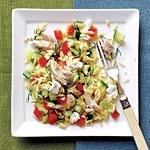 www.gaea.gr Lemony Orzo-Veggie Salad with Chicken