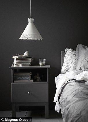 For a similar look, try Scree by Little Greene, littlegreene.com. TARVA BEDSIDE TABLE, £35, and MONDAL PENDANT LAMP, £15, both Ikea, ikea.co...