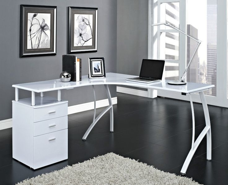 Black Or White Corner Computer Desk Home Office PC Table With 3 Drawers L Shaped
