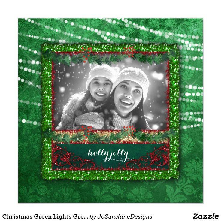 Christmas Green Lights Green Glitter Photo Card