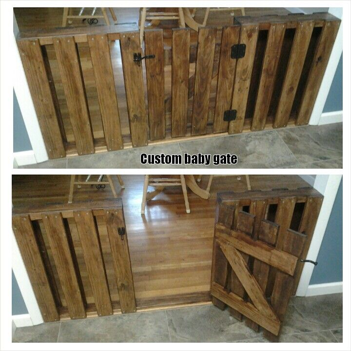 Custom baby gate made from pallet wood.