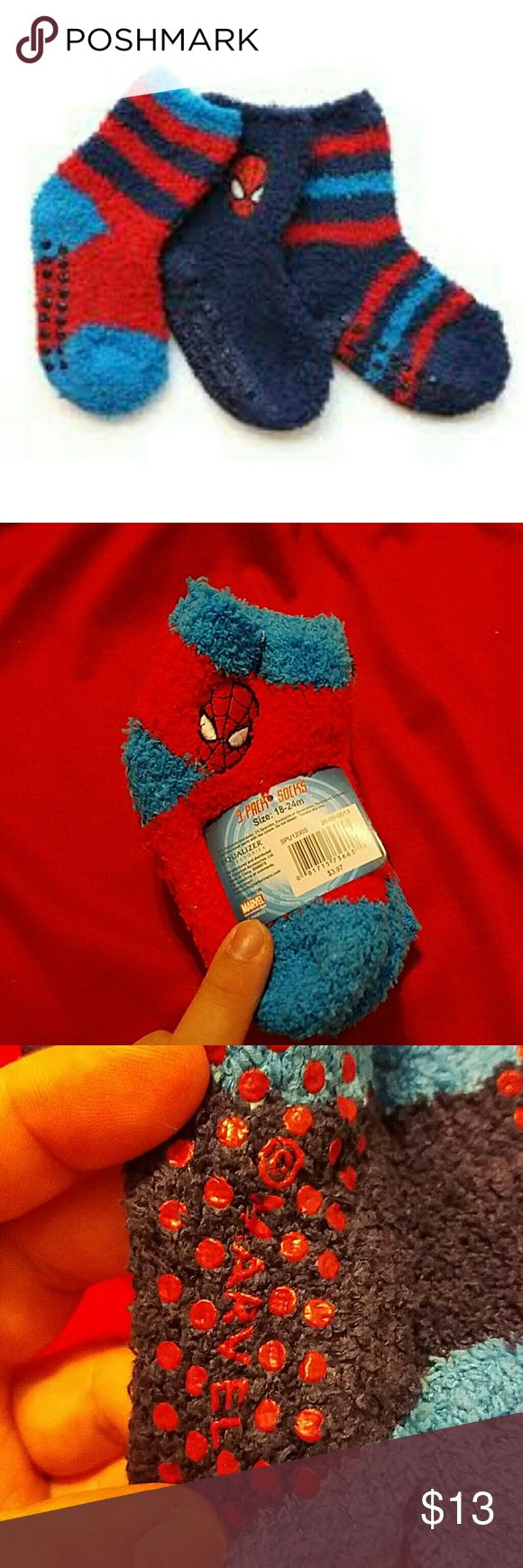 Spiderman socks for baby boys Very fluffy and comfy, these will keep your boys footsies all toasty.theres 3 pairs included and they all have rubbery spots on bottom to make it easy for walking, no slips! You can wear this with your favorite outfit or pair it with a spiderman costume! Accessories Socks & Tights