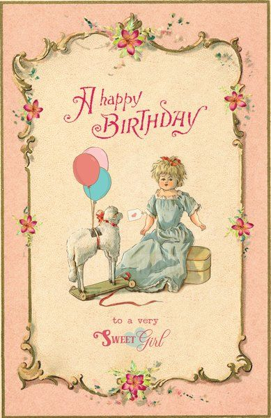 Vintage Inspired Sweet Happy Birthday Card for a Young Girl with cute Dolly, Lamb Toy and Balloons. Bifold. $5.95 Tax included. Free shipping to the US and Canada. Free proof of your product. Fully Personalized and customizable with your choice of text and design elements. Text available in 3 lang. English, French and Spanish. Credit cards and PayPal safely accepted. Made with lotsa, lotsa  ❤️❤️❤️ at www.peppagush.com