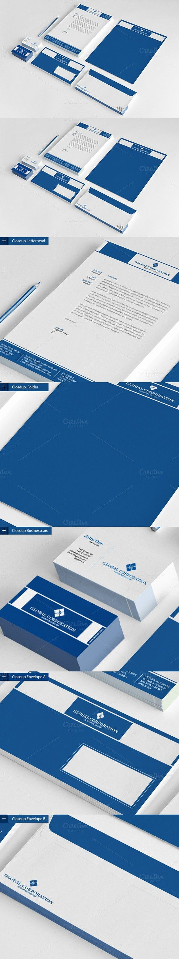 Global Corporation Stationary. Stationery Templates