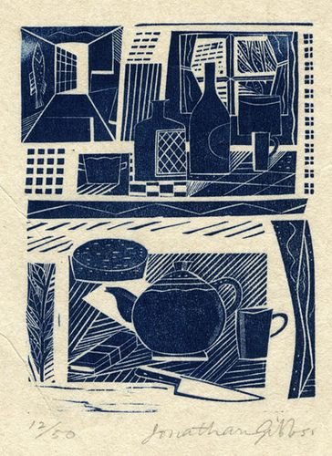 "Jonathan Gibbs' ""Kitchen Still Life"" limited edition wood engraving. Similar work available from St. Jude's Modern British and our online print store."