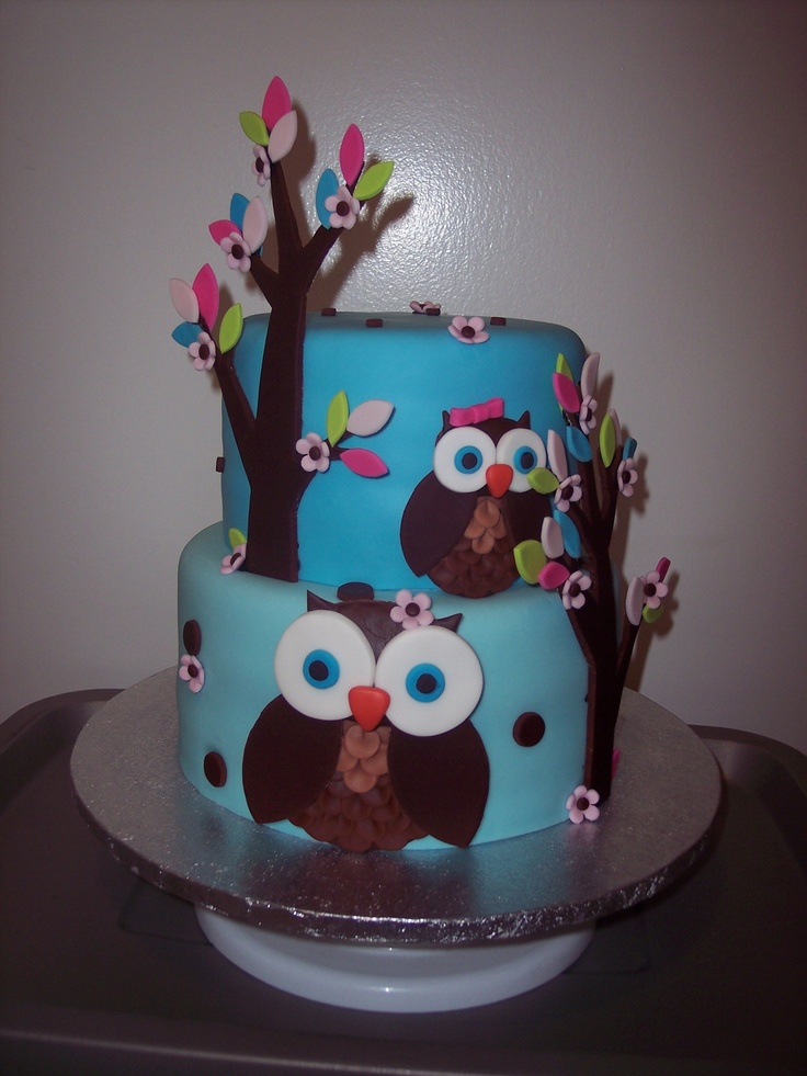 Owl Baby Shower Cake - 9 & 7 Black forest cake, everything is MMF with Strawberry vanilla cupcakes covered in buttercream and fondant owls and flowers. Inspiration from Shannonlovebug and corrie76.