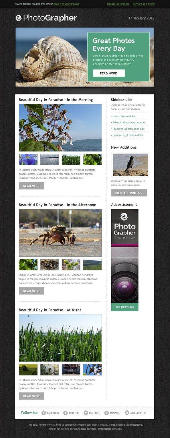 Epic best free mailchimp email newsletter templates designer arsenal photographer html template