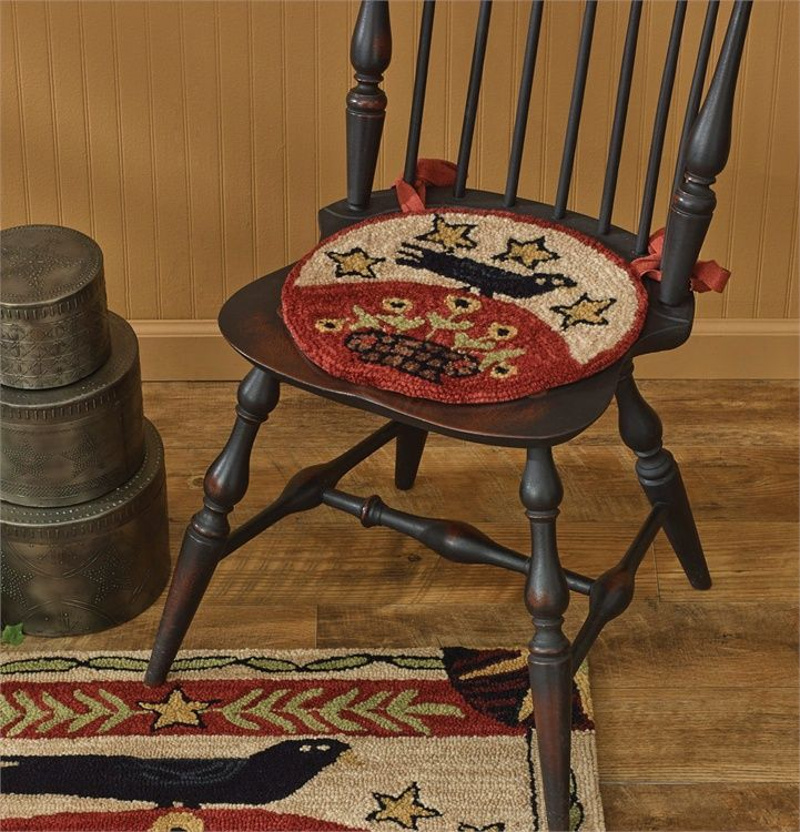 The Country Porch Home Decor Features Folk Crow Hooked Chair Pad From Park  Designs