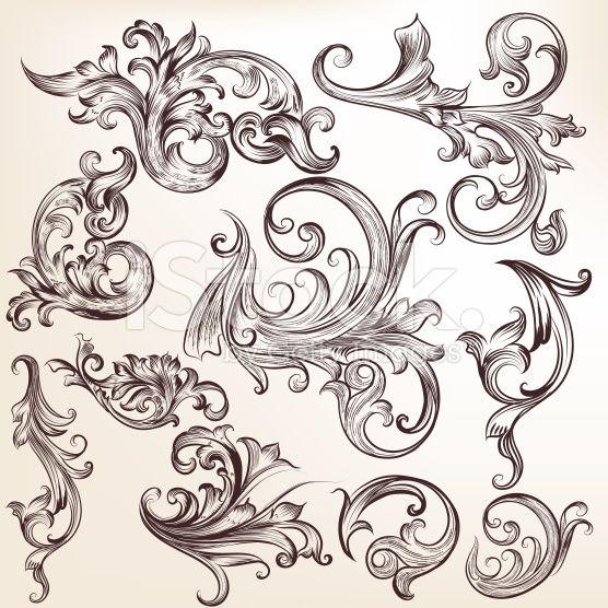 Vector set of calligraphic elements for design. Calligraphic vec royalty-free stock vector art