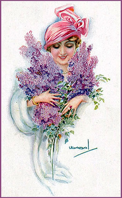 art deco post card...lady with lilacs #lilac #postcard: Vintage Postcards, Deco Postcards, Lilacs Postcards, Posts Cards Lady, Photo, Vintage Image, Vintage Cards
