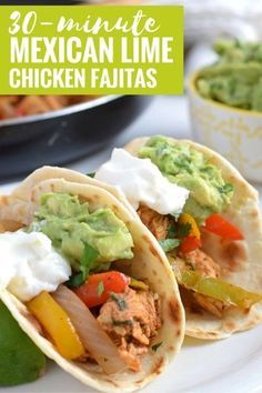 Limited on time? Make these Mexican Lime Chicken Fajitas in only 30 minutes and this Easy Guacamole recipe in 5 minutes for a quick dinner tonight! // http://fromcatstocooking.com