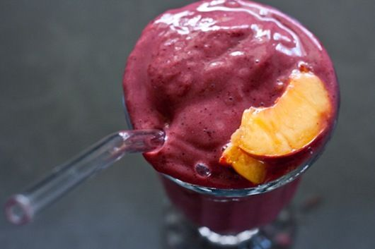 Frozen peaches and cherries smoothie. recipe