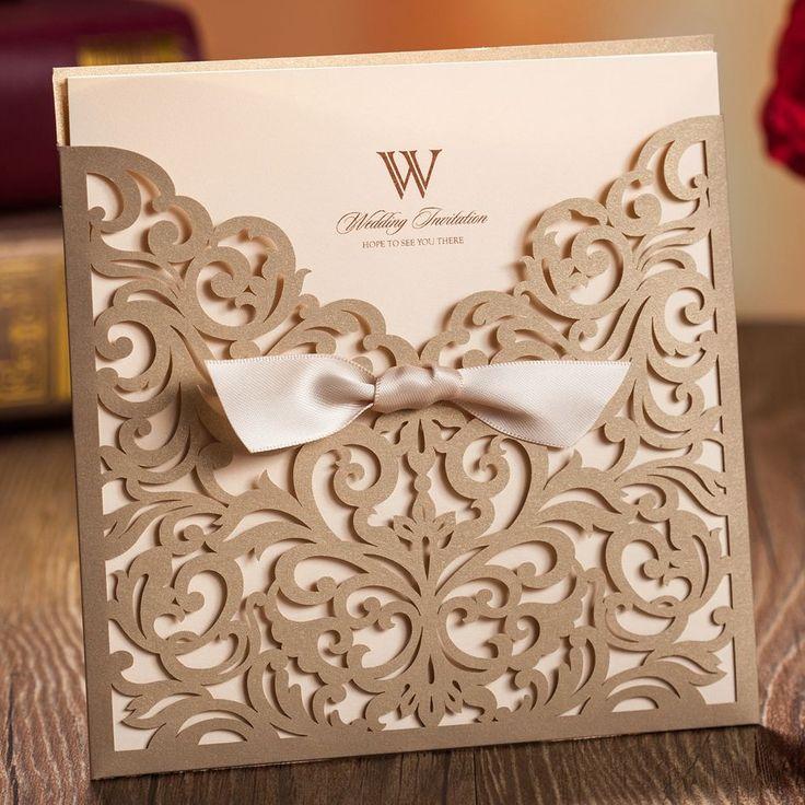 elegante estilo europeo vintage flores de oro recorte lacer boda tarjetas impresin envo