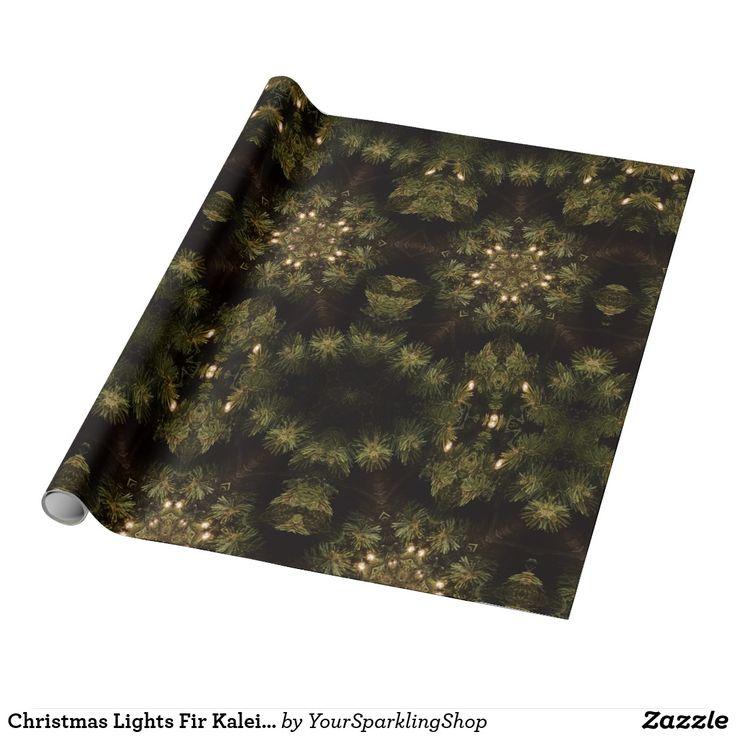 Christmas Lights Fir Kaleidoscopic Design #christmas #fir #giftwrapping