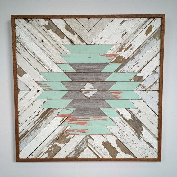 Reclaimed Wood Aztec Pattern by RustedWillowArtworks on Etsy