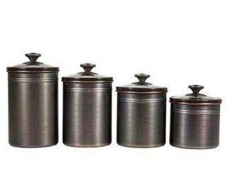 Marvelous 4 Brushed Bronze Kitchen Canisters Seal Tight Lids 4 Sizes Flour Sugar  Organizers List Price: