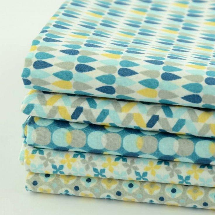 Tissu Ameublement Scandinave #10: Tissu Imprimé 100% Coton Motifs Géométriques Jaune/bleu Sur Fond Beige