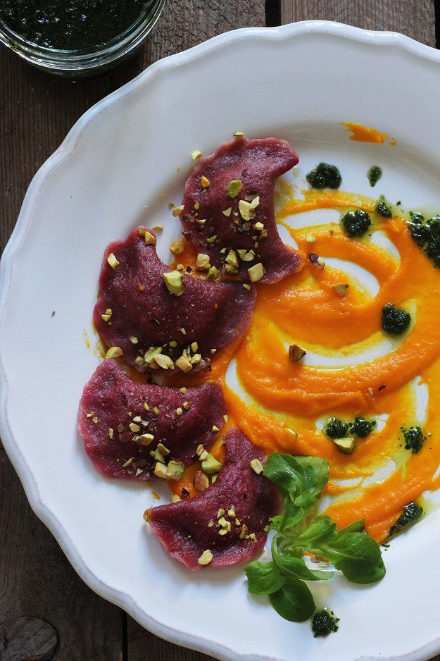 Red Beet Pierogies with Cashews and Pumpkin Mousse | 22 Pierogi Recipes That Are Filled With Love