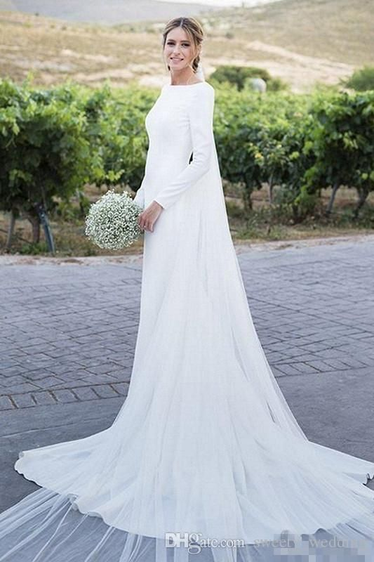 2019 New Country Wedding Dresses Long Sleeves Bateau Sheath Backless Court Train Dress For Bridal Gowns Vestidos De Noiva Cheap Customized Red And White Wedding Dresses Sheath Wedding Dresses From Sweety_wedding, $143.08| DHgate.Com