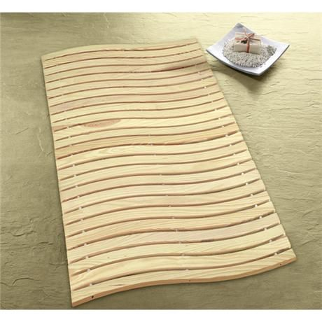 Kleine Wolke - Wave Wood Bath Mat - 600 x 800mm - Nature - 5052-202-646