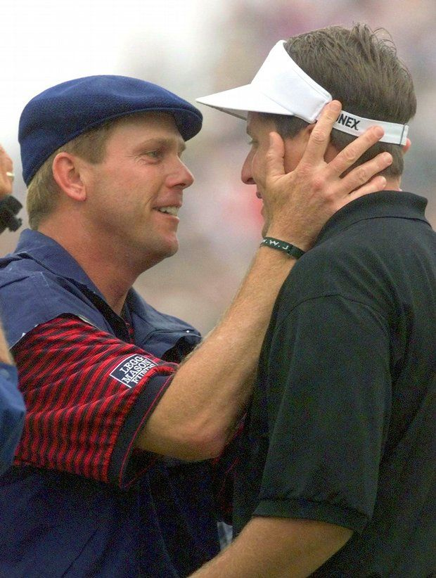 One of my favorite golf moments ever. Payne Stewart and Phil Mickelson after Payne won the Open in 99