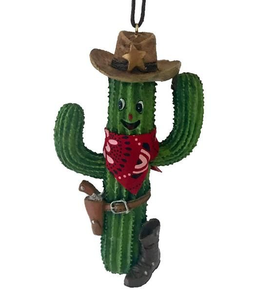 Southwestern Christmas Ornament- Smiling Saguaro Cowboy with Boot