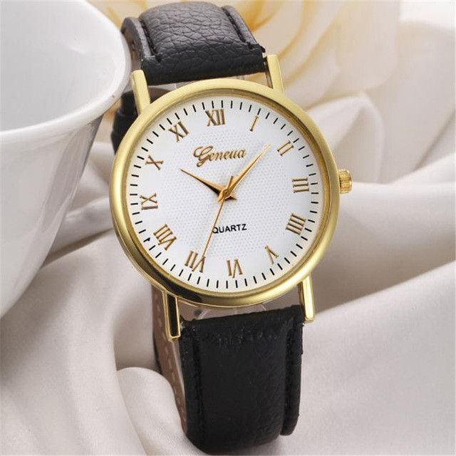 Fashion watches women men Leisure Leather Band Analog Clock Hour