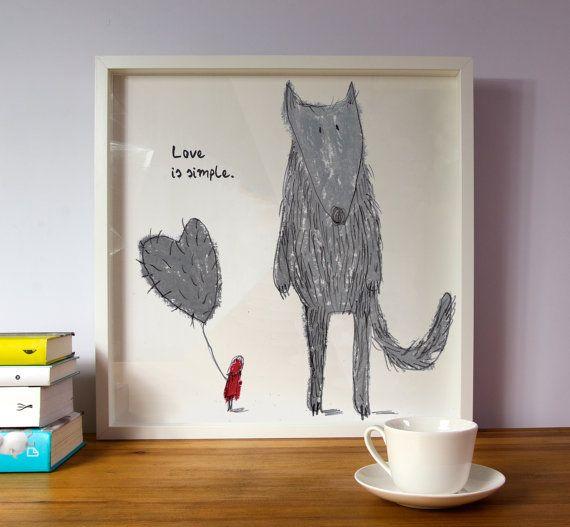 LOVE IS SIMPLE!  PIN IT TO REMEMBER!  Nursery artBaby nursery decorNursery wall artLittle by illustation