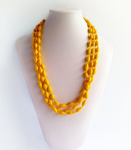 Zahra - Afri Beads Yellow Paper | Indigo Heart - Fair Trade Fashion A$29.95