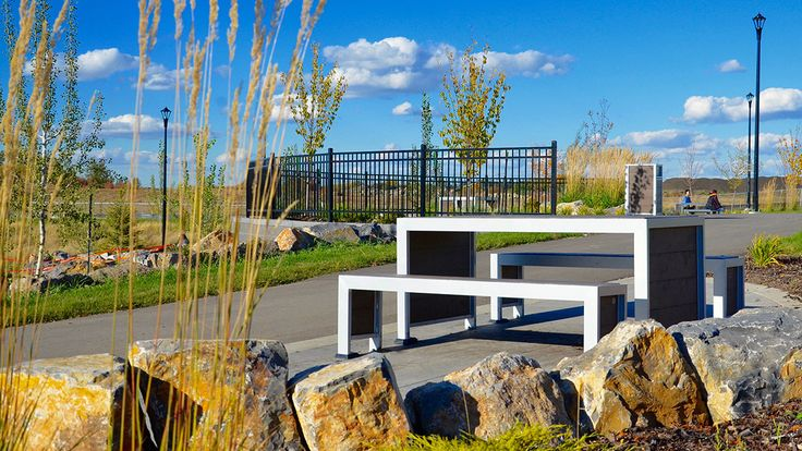 Wishbone #Urban #Form #Picnic #Table at Desrochers Subdivision in #Edmonton Alberta #madeincanada #streetfurniture #sitefurniture #design