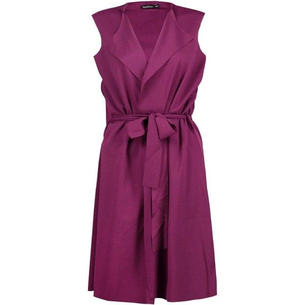 Maddison Sleeveless Belted Duster (795 RUB) ❤ liked on Polyvore featuring outerwear, coats, sleeveless coats, sleeveless belted coat, duster coats, sleeveless duster coat and belted coat