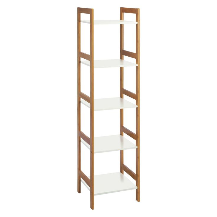 DREW Bamboo and white lacquer 5-shelf bookcase